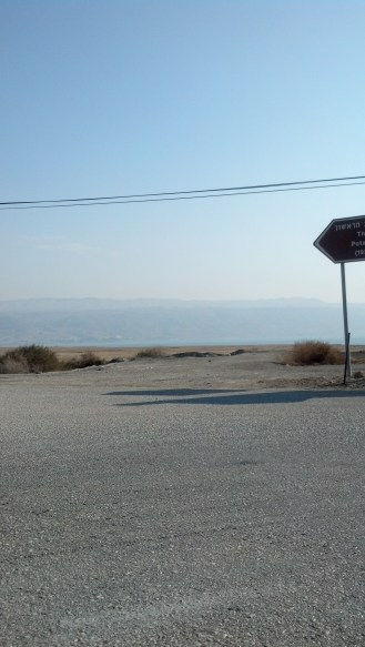 Driving past the Dead Sea in Israel.